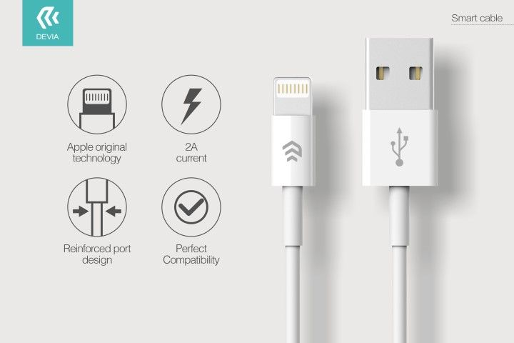 CAVO DATI E CARICA LIGHTNING iPHONE E iPAD IOS BIANCO 1METRO